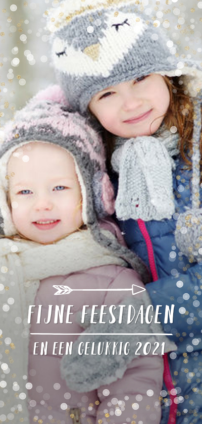 Kerstkaarten - Kerstkaart met grote achtergrond foto en confetti goud wit