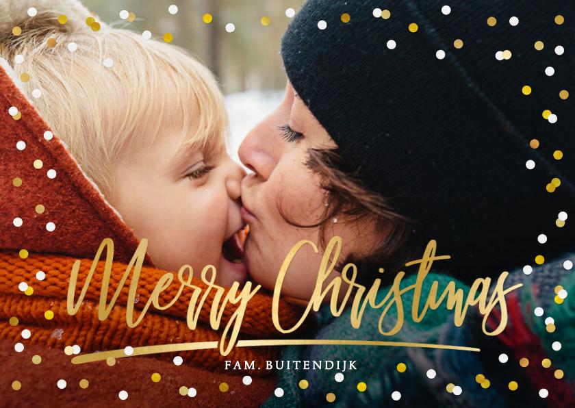 Kerstkaarten - Kerstkaart met grote foto, merry christmas en confetti
