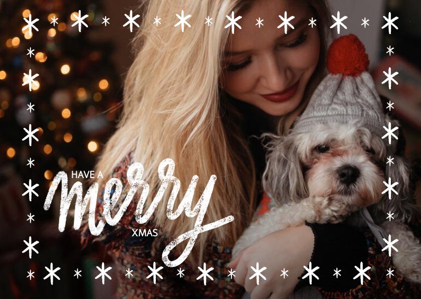 Kerstkaarten - Kerstkaart met grote foto, sterren kader en merry xmas