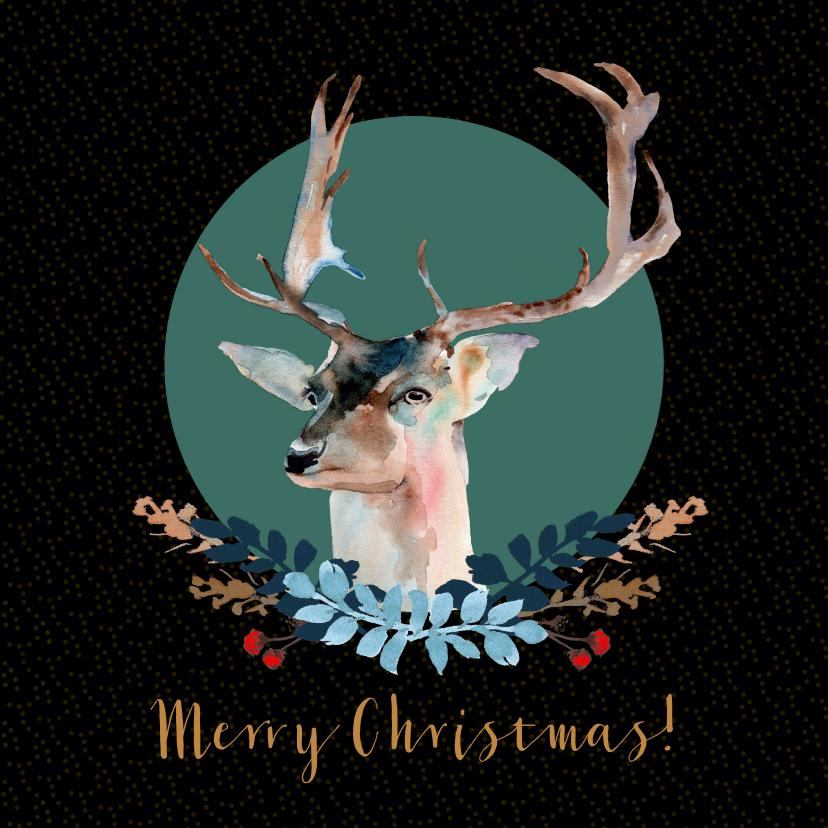 Kerstkaarten - Kerstkaart met hert en botanisch kerstdecoratie