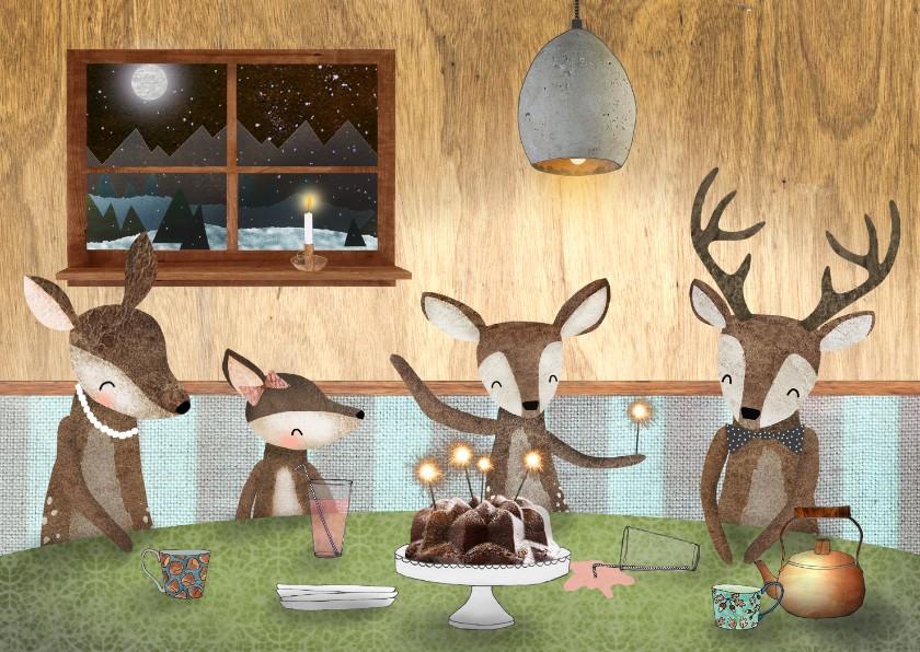 Kerstkaarten - Kerstkaart met hertjes aan een gezellige tafel