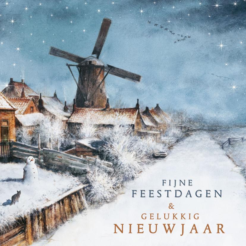 Kerstkaarten - Kerstkaart met Hollands winterlandschap en molen in sneeuw