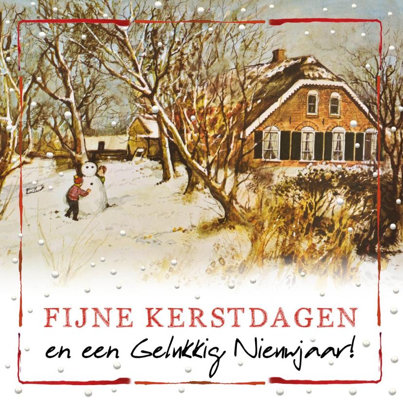 Kerstkaarten - Kerstkaart met Hollandse boerderij en spelende kinderen