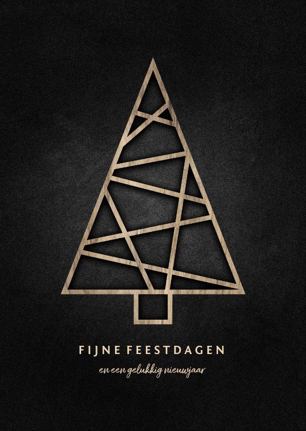 Kerstkaarten - Kerstkaart met houten kerstboom en krijtbord achtergrond