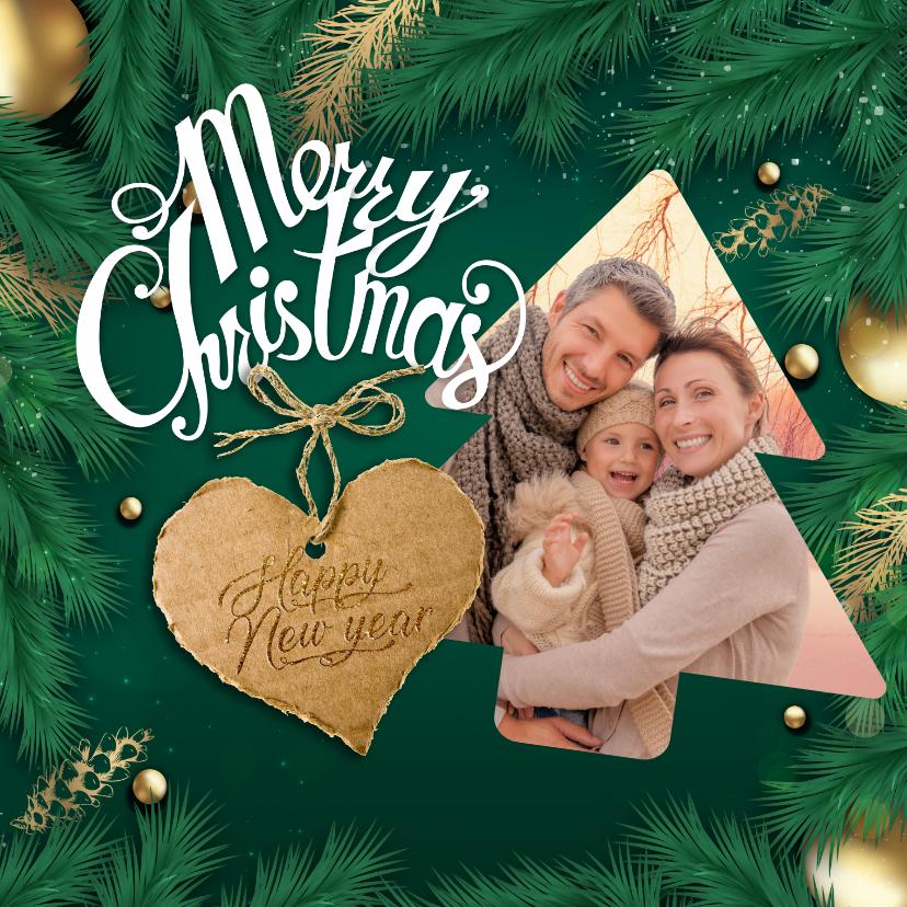 Kerstkaarten - Kerstkaart met hulst en kerstfoto
