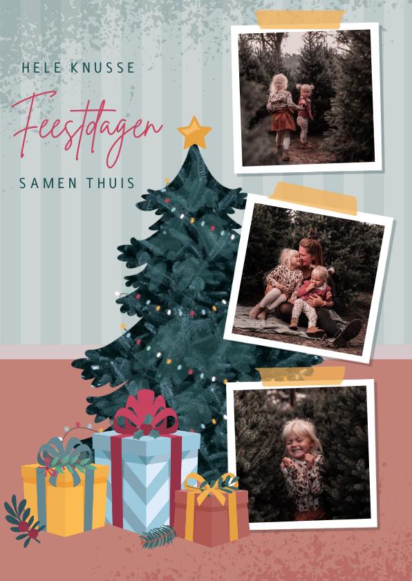 Kerstkaarten - Kerstkaart met illustratie van kerstboom fotocollage