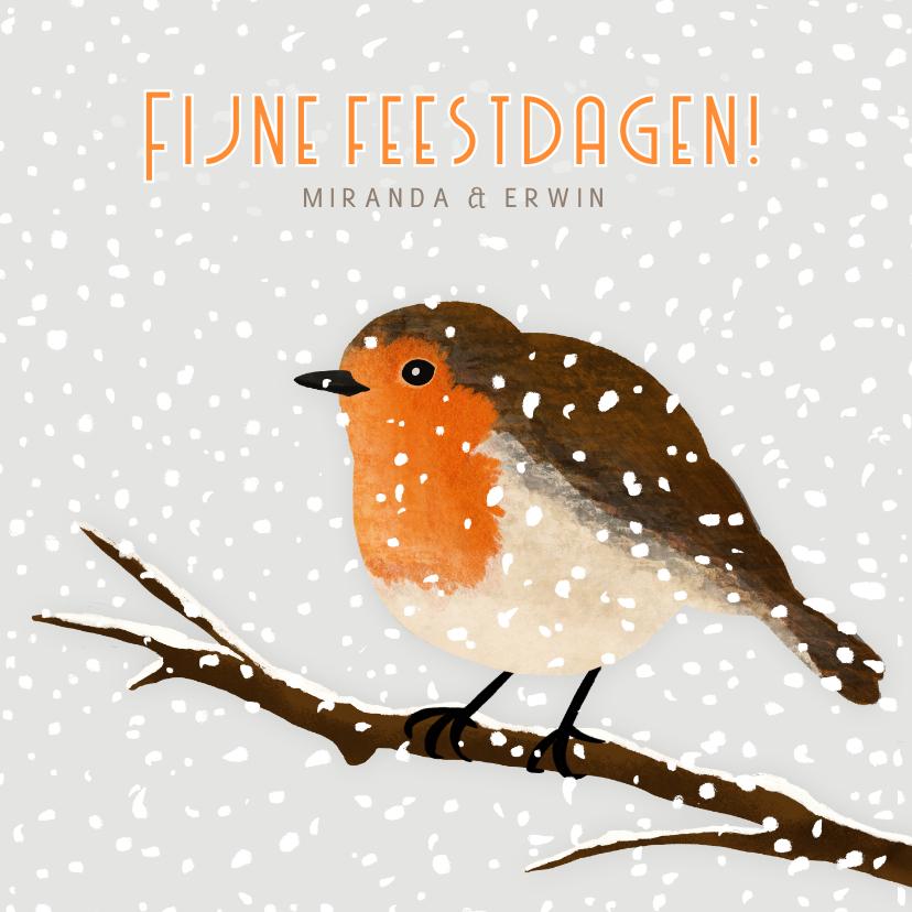 Kerstkaarten - Kerstkaart met illustratie van roodborstje in de sneeuw