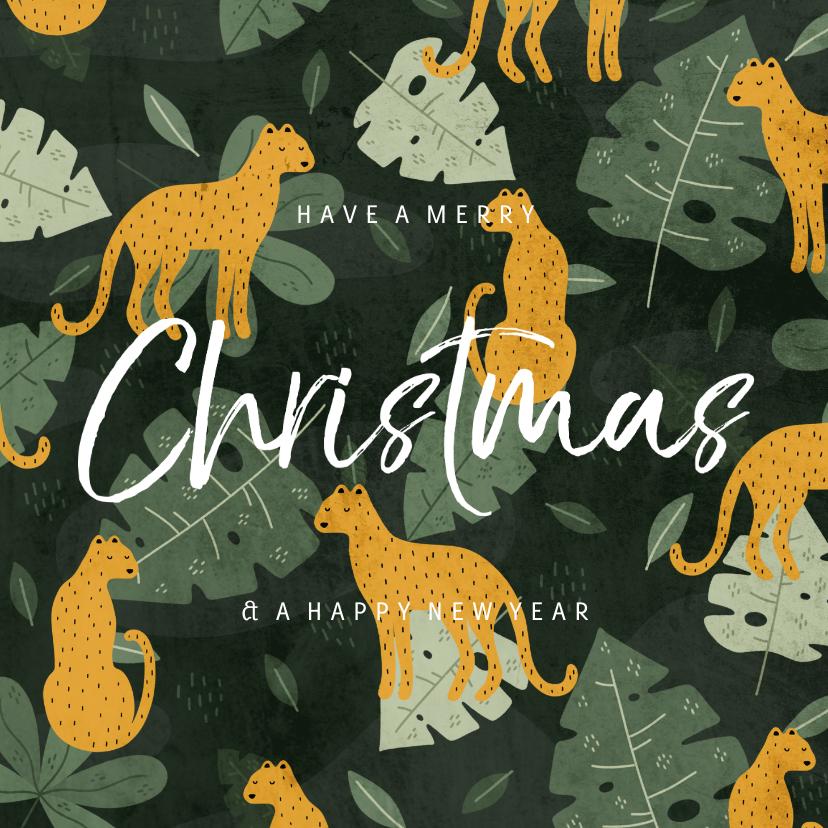 Kerstkaarten - Kerstkaart met jungle patroon en handgeschreven christmas