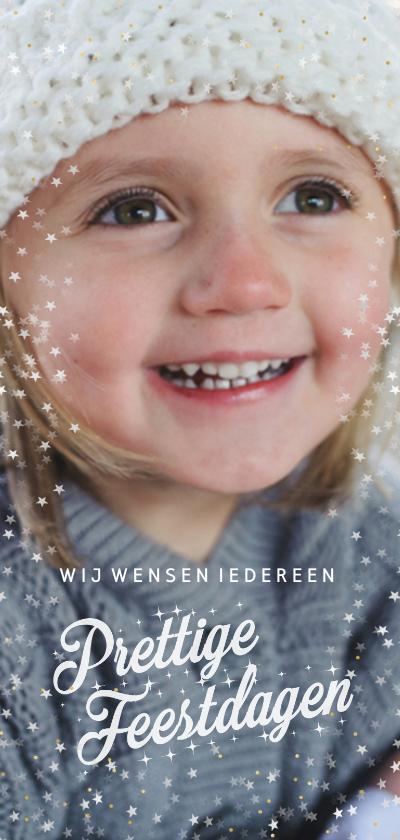 Kerstkaarten - Kerstkaart met kader van sterretjes en gouden stipjes