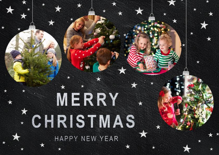 Kerstkaarten - Kerstkaart met kerstballen foto's