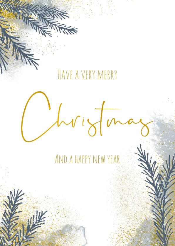 Kerstkaarten - Kerstkaart met kerstboom takjes en goud en waterverf