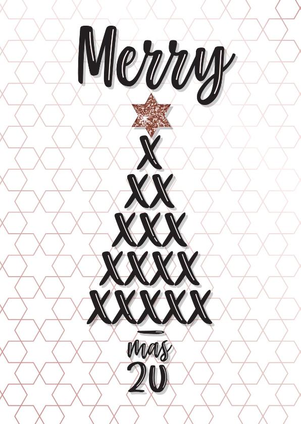 Kerstkaarten - Kerstkaart met kerstboom van kusjes met rose gouden accenten