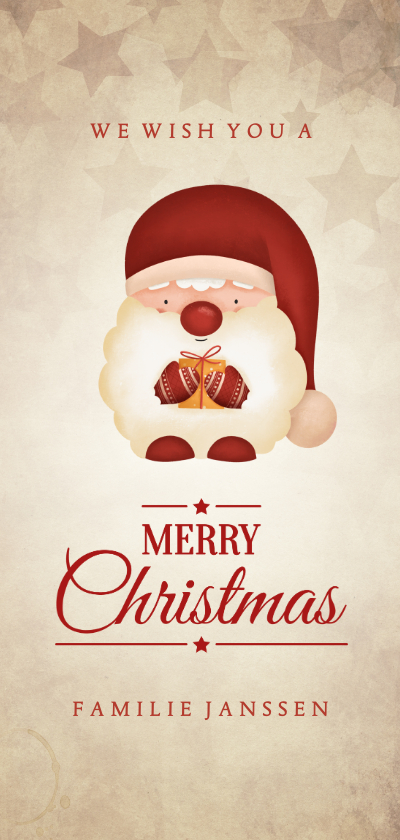 Kerstkaarten - Kerstkaart met kerstkabouter vintage Merry Christmas