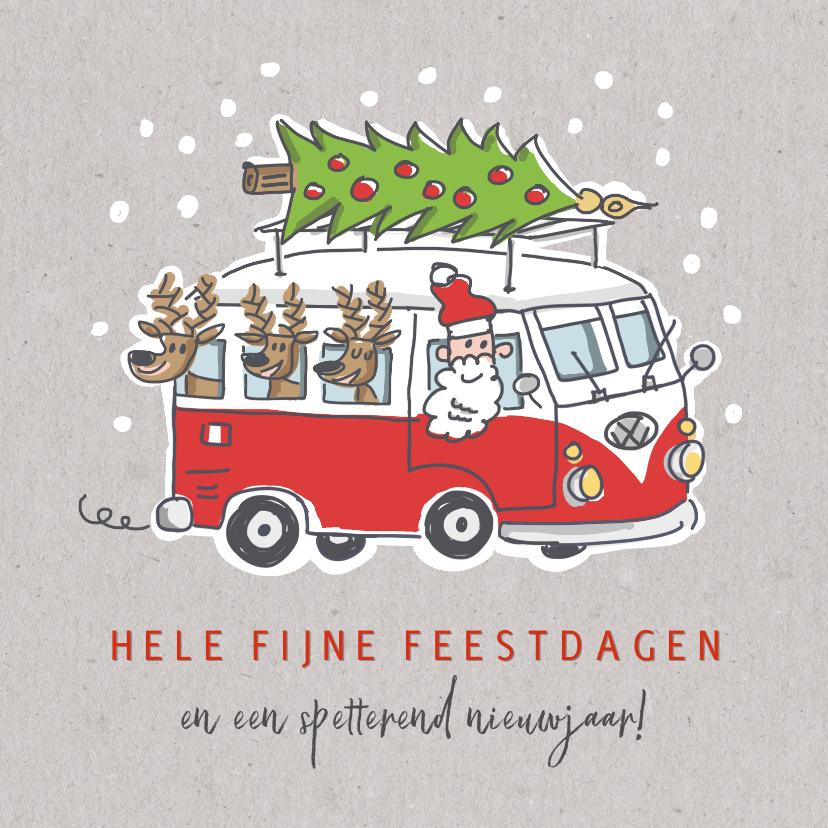 Kerstkaarten - Kerstkaart met kerstman en 3 rendieren in vw busje