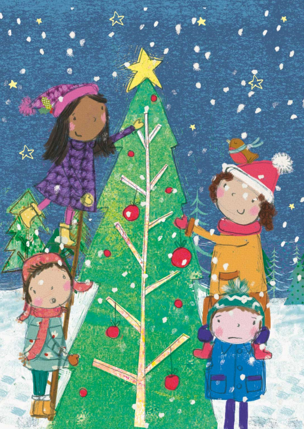 Kerstkaarten - Kerstkaart met kinderen die een kerstboom versieren