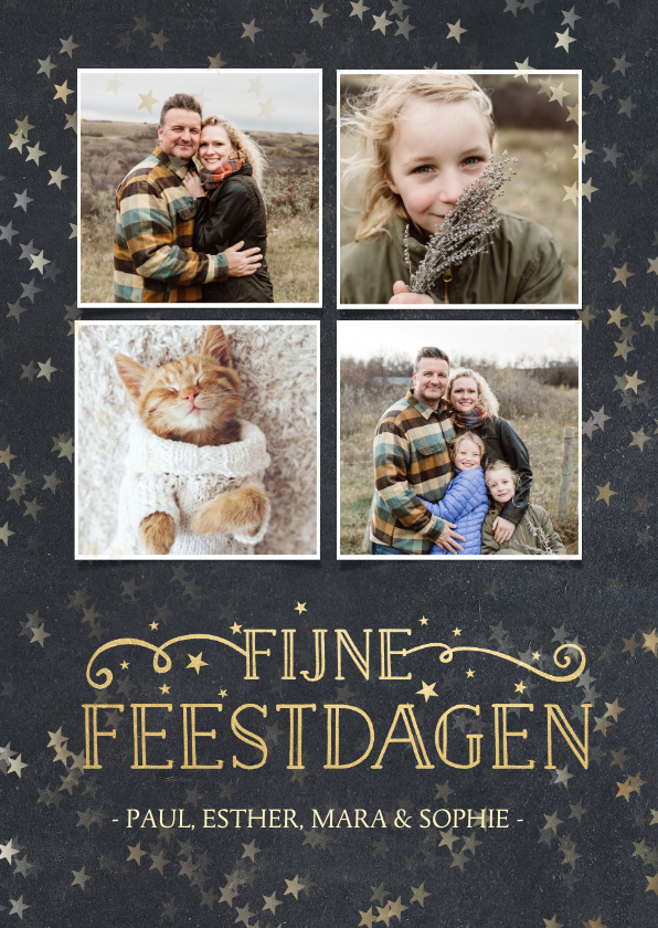 Kerstkaarten - Kerstkaart met krijtbord achtergrond, sterren en 4 foto's