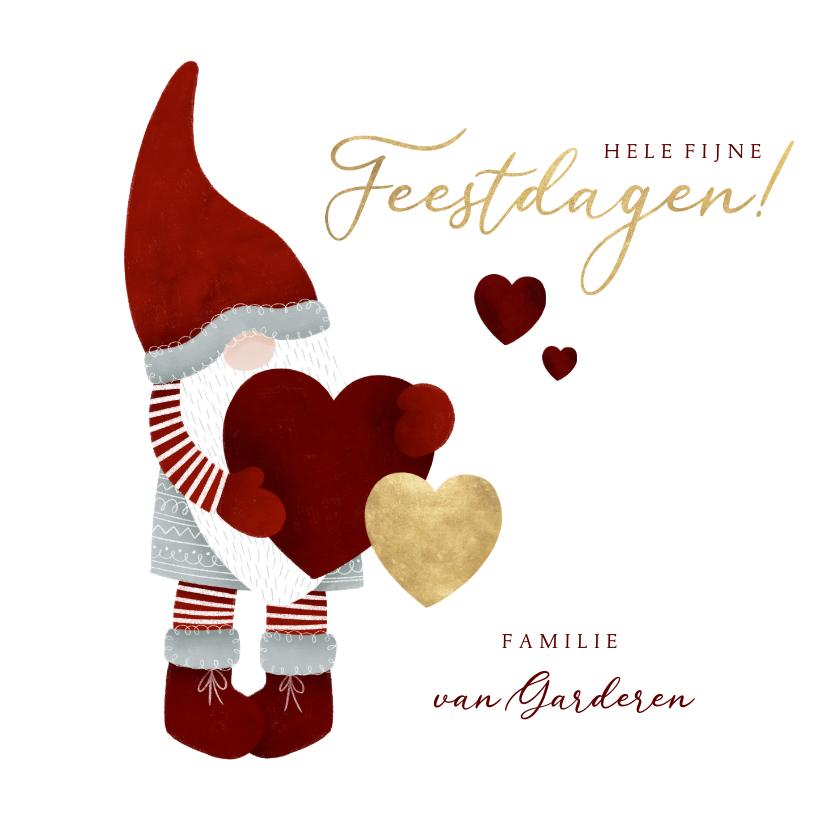 Kerstkaarten - Kerstkaart met leuke kerstman, hartjes en fijne feestdagen