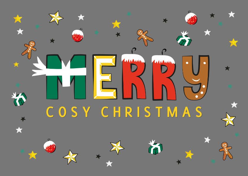 Kerstkaarten - Kerstkaart met leuke vrolijke tekst