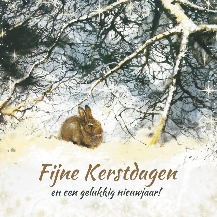 Kerstkaarten - Kerstkaart met lief konijn in winterbos