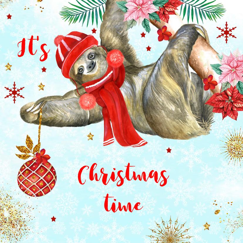 Kerstkaarten - Kerstkaart met luiaard kerstbal