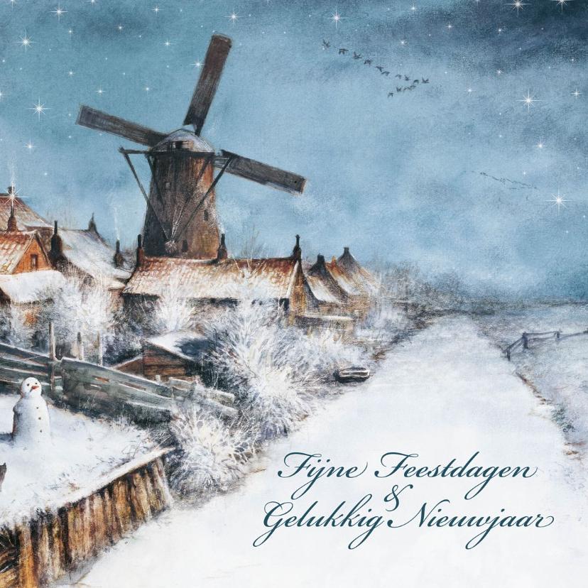 Kerstkaarten - Kerstkaart met molen in winters landschap