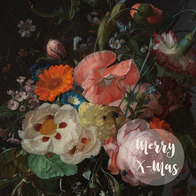 Kerstkaarten - Kerstkaart met mooie vintage bloemen