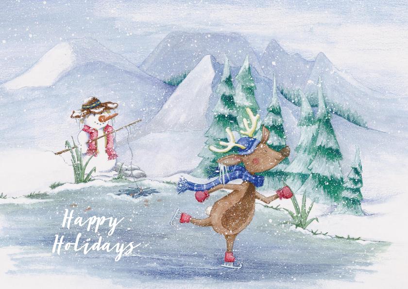 Kerstkaarten - Kerstkaart met rendier op schaatsen