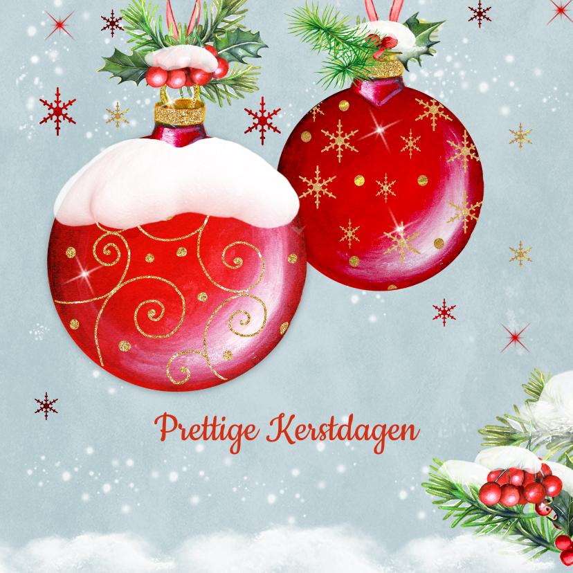 Kerstkaarten - Kerstkaart met rode kerstballen klassiek