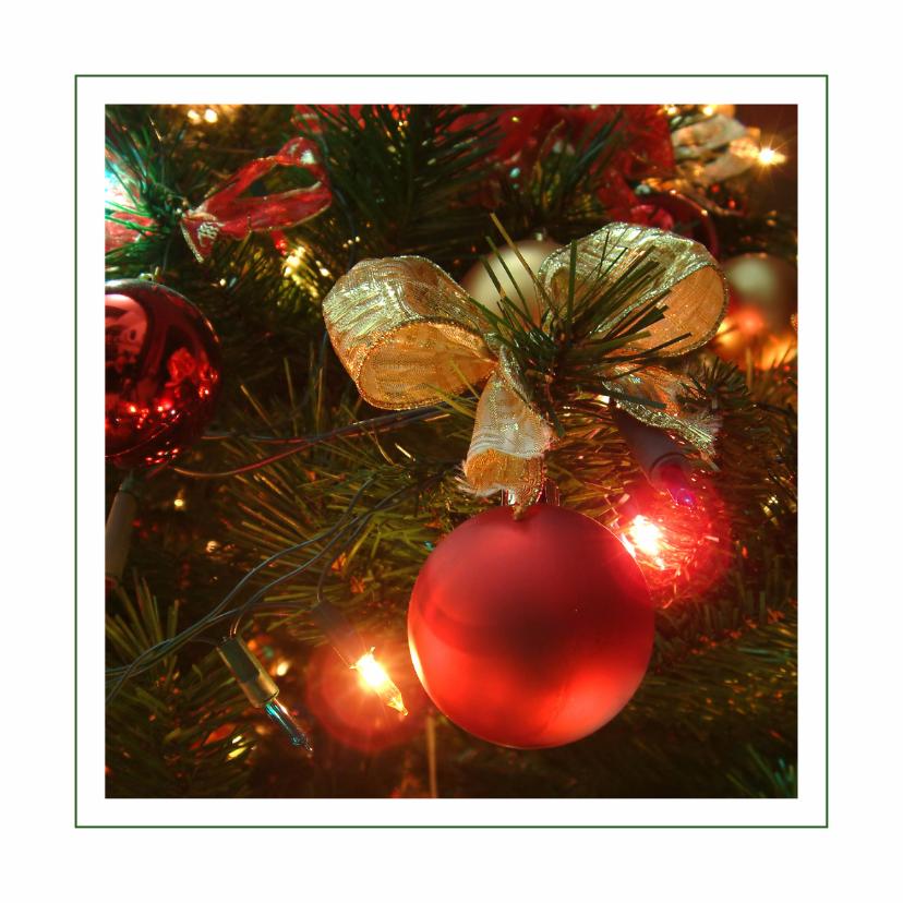 Kerstkaarten - Kerstkaart met rode kerstballen