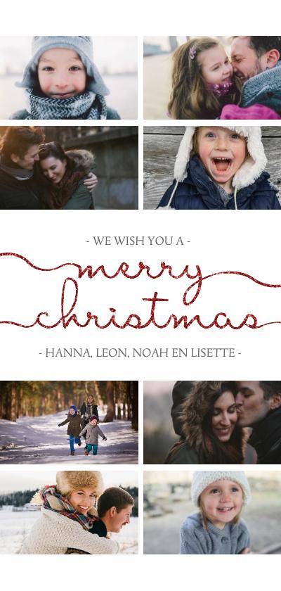 Kerstkaarten - Kerstkaart met sierlijk 'merry christmas' en foto's