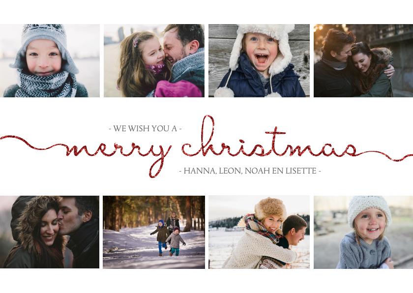 Kerstkaarten - Kerstkaart met sierlijke letters en foto's