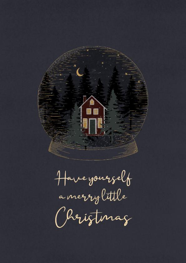Kerstkaarten - Kerstkaart met sneeuwbol met kersttafereeltje