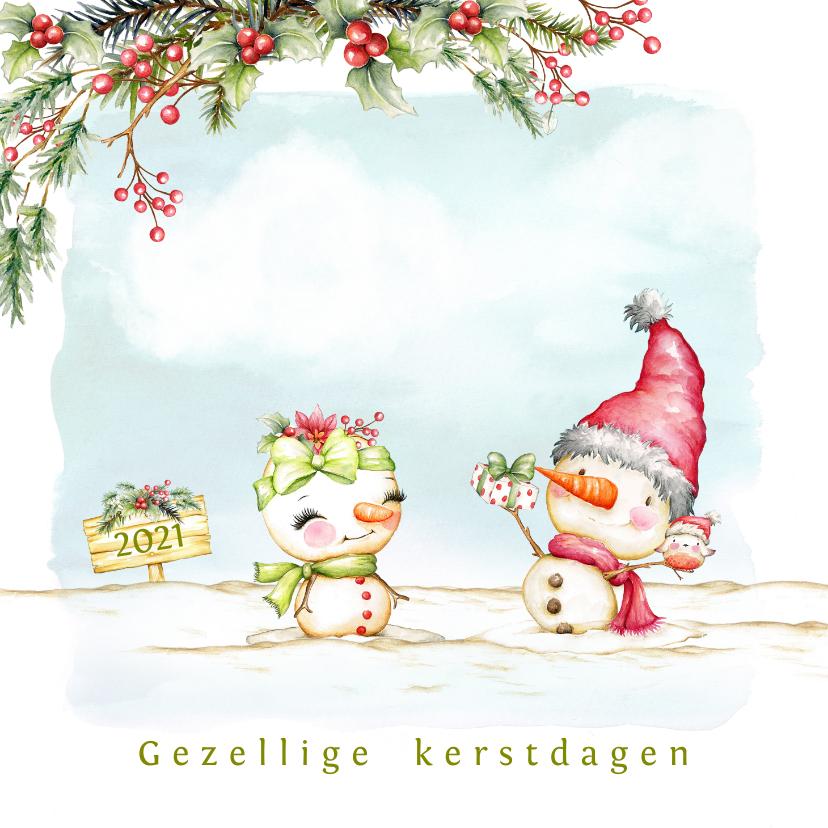 Kerstkaarten - Kerstkaart met sneeuwpop man en vrouw