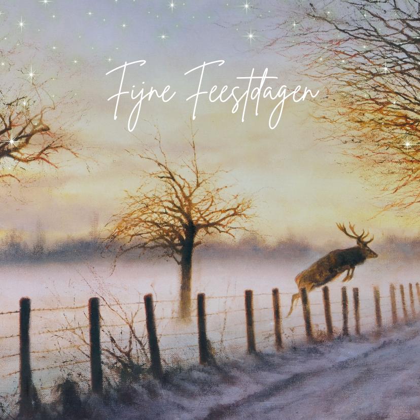 Kerstkaarten - Kerstkaart met springend hert in winterbos