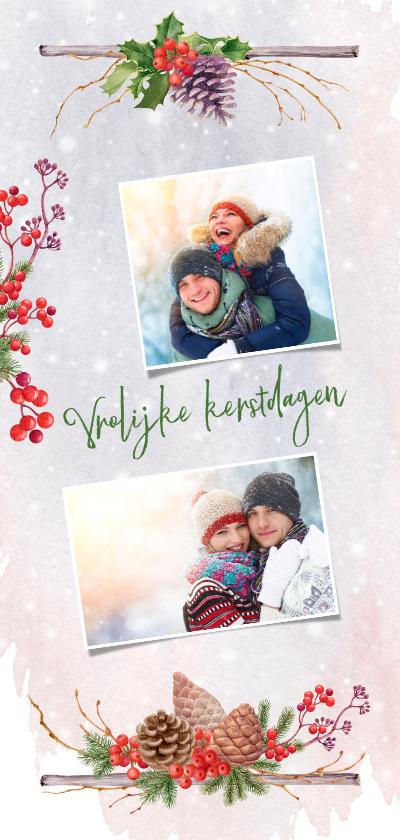 Kerstkaarten - Kerstkaart met traditioneel kerstgroen