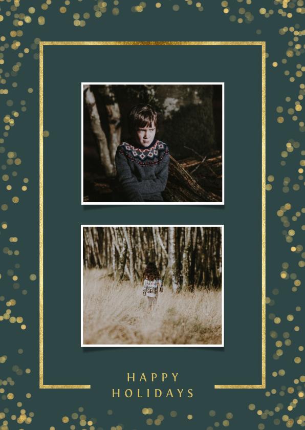 Kerstkaarten - Kerstkaart met twee foto's en goudlook kader