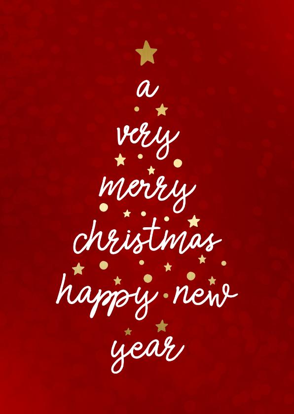 Kerstkaarten - Kerstkaart met typografische kerstboom