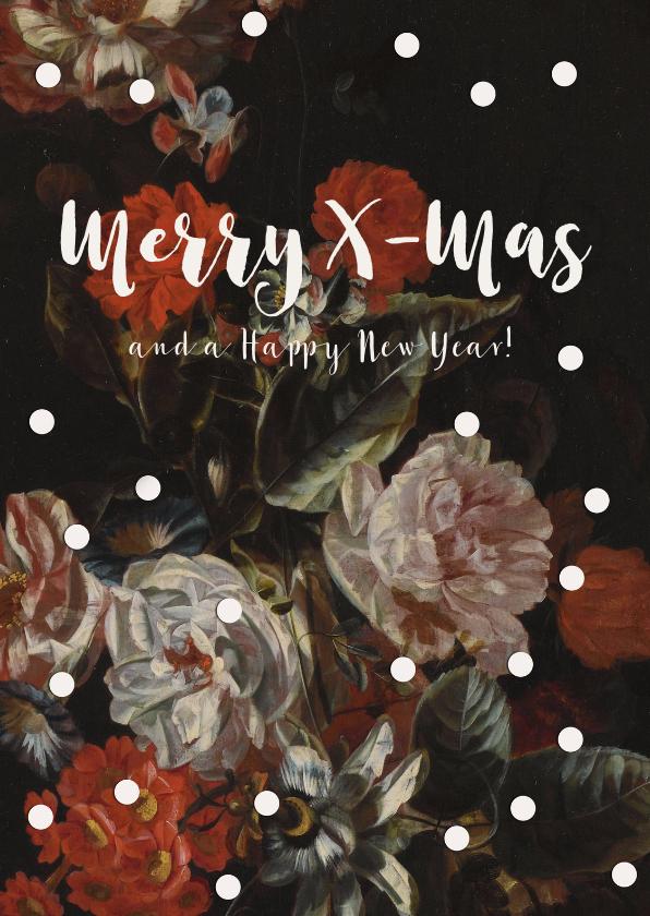 Kerstkaarten - Kerstkaart met vintage bloemen en witte stippen