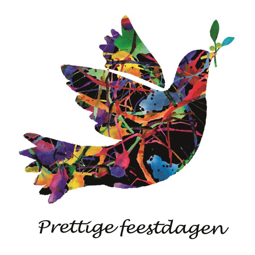 Kerstkaarten - Kerstkaart met vredesduif - kleurrijk