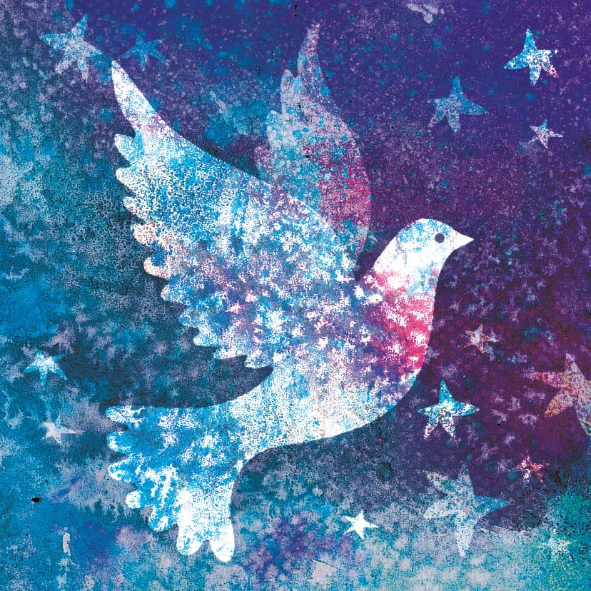 Kerstkaarten - Kerstkaart met vredesduif - mooie illustratie