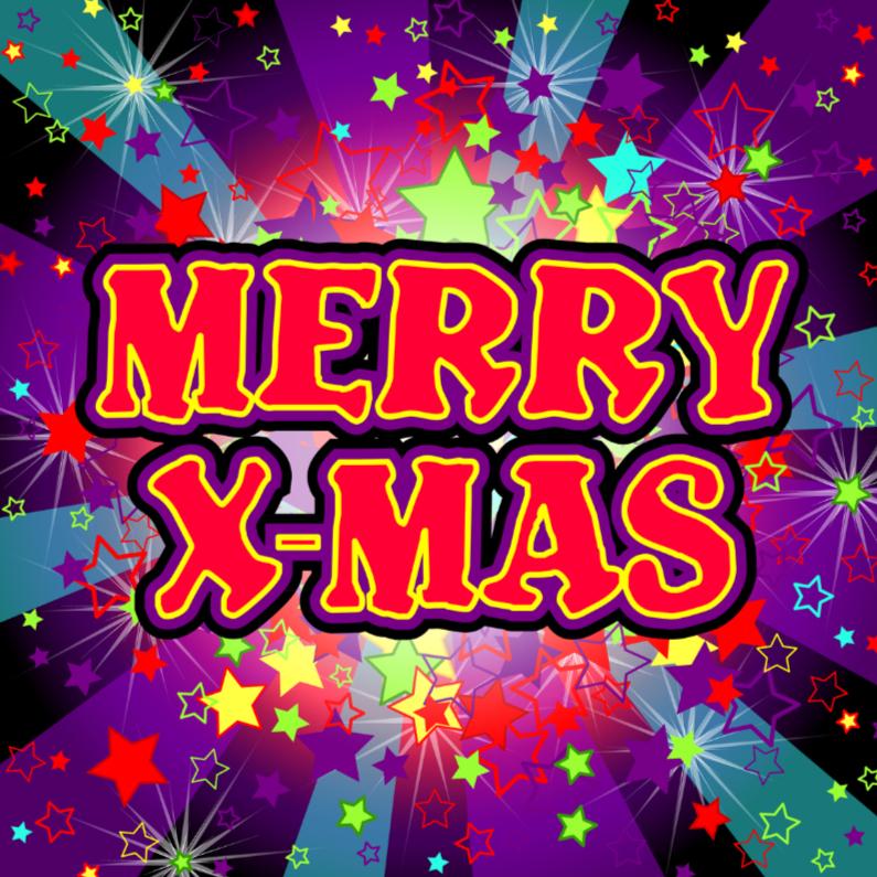Kerstkaarten - Kerstkaart met vrolijke gekleurde sterren