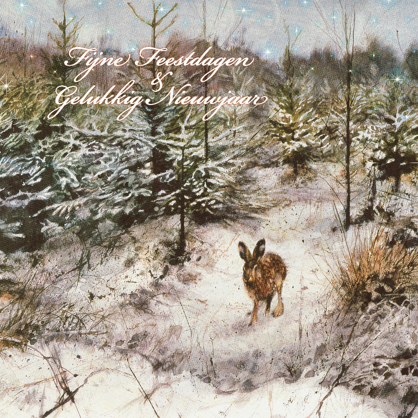 Kerstkaarten - Kerstkaart met wintertafereel 'Haas in winterbos'