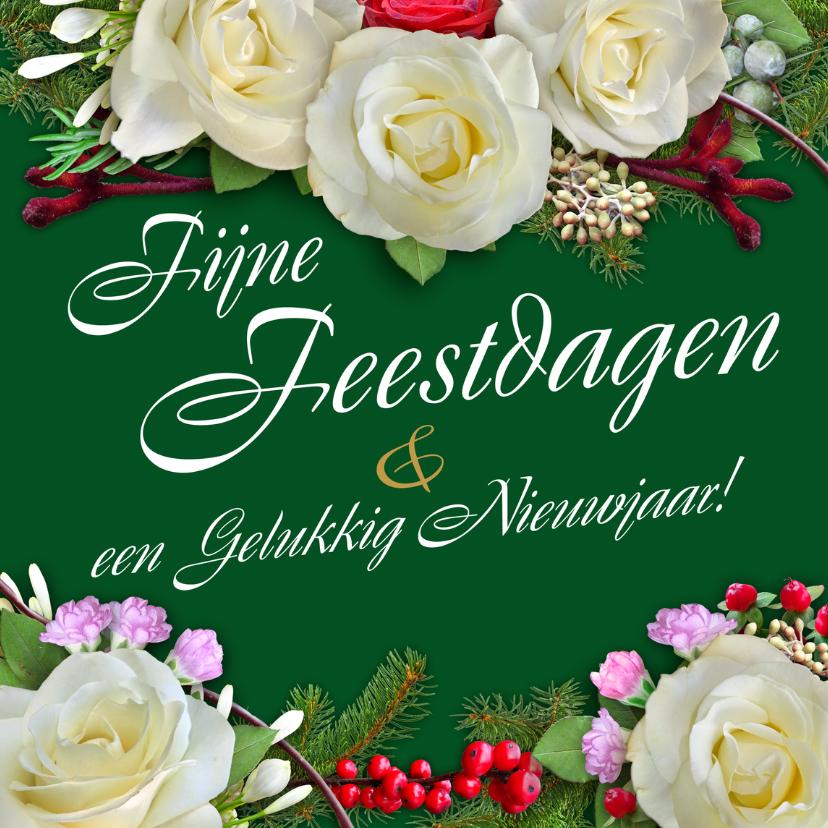 Kerstkaarten - Kerstkaart met witte rozen en andere bloemen - HE