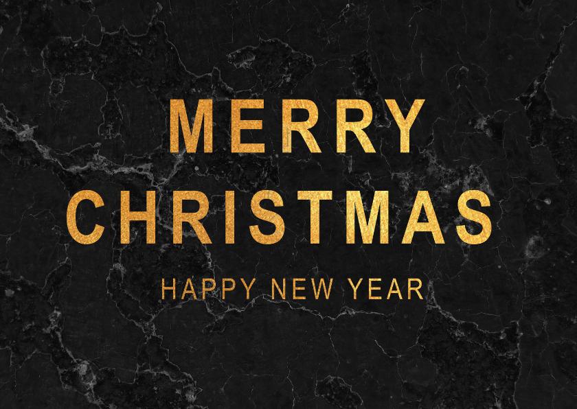 Kerstkaarten - Kerstkaart met zwart marmer