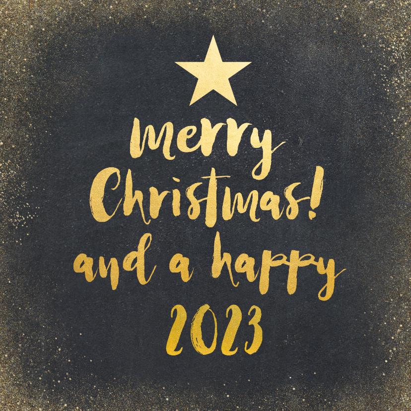 Kerstkaarten - Kerstkaart met zwarte achtergrond en gouden letters
