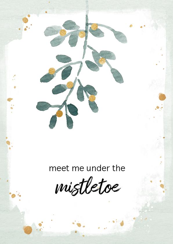 Kerstkaarten - Kerstkaart mistletoe aanpasbare tekst