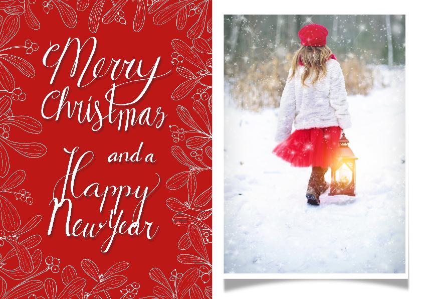 Kerstkaarten - Kerstkaart mistletoe fotokaart met rode achtergrond