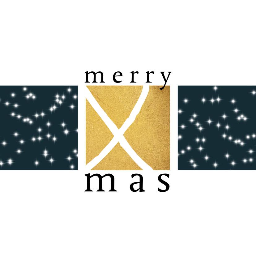 Kerstkaarten - Kerstkaart modern, goudlook en sterretjes