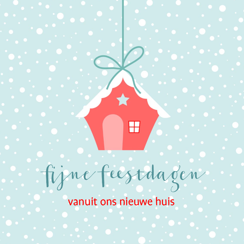 Kerstkaarten - Kerstkaart nieuw huis rood