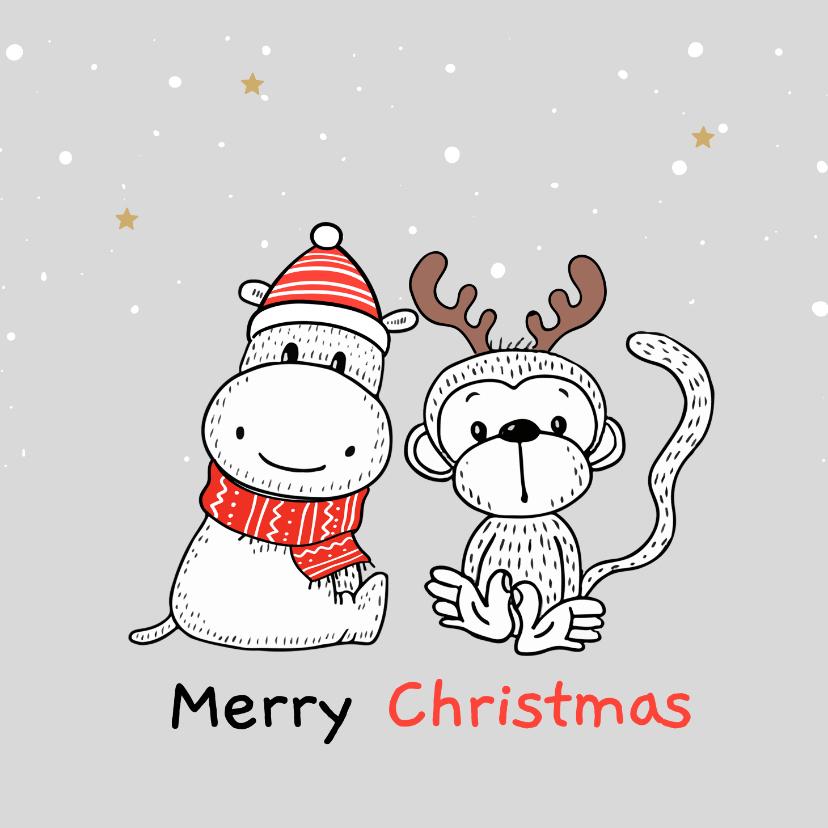 Kerstkaarten - Kerstkaart - Nijlpaard en aapje met kerstmuts